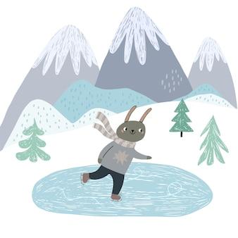 Un simpatico coniglietto sta pattinando sul ghiaccio. stile scandinavo