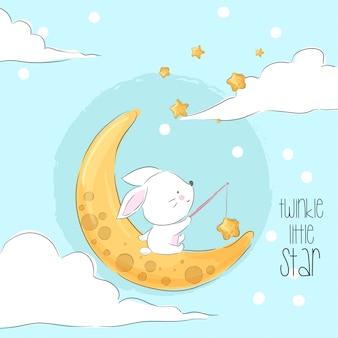Simpatico coniglietto sulla luna animale del fumetto Vettore Premium