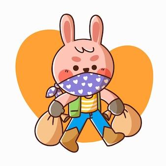 Simpatico coniglietto che gioca a carattere di cowboy doodle illustrazione asset