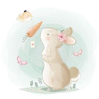 Simpatico coniglietto che riceve un regalo di carota
