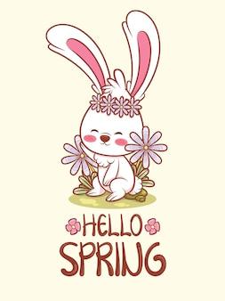 Simpatico coniglietto saluta con un fiore primaverile. illustrazione del personaggio dei cartoni animati ciao concetto di primavera.