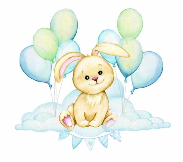 Simpatico coniglietto, seduto su una nuvola, su uno sfondo di palloncini blu. clipart ad acquerello, stile cartone animato.