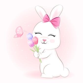 Simpatico coniglietto e fiori di tulipano con illustrazione di farfalla