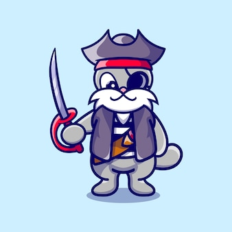 Simpatico coniglietto che indossa il costume di halloween da pirata