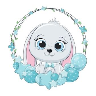 Simpatico coniglietto con palloncino e ghirlanda