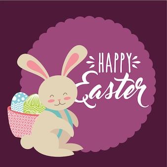 Coniglietto carino con cesto sulla schiena con uova etichetta di pasqua felice