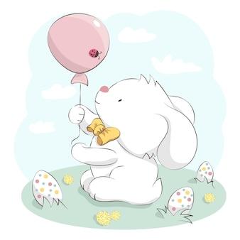 Simpatico coniglietto con fiocco in possesso di palloncino e uova di pasqua. illustrazione disegnata a mano del fumetto