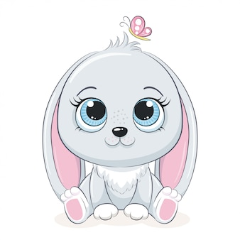Simpatico coniglietto con farfalla. illustrazione
