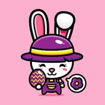 Simpatico coniglietto con uovo decorativo