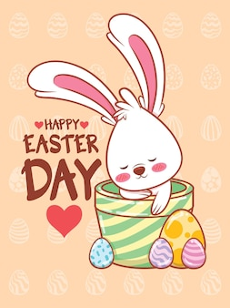 Simpatico coniglietto con uova di pasqua decorate. illustrazione del personaggio dei cartoni animati concetto felice giorno di pasqua.