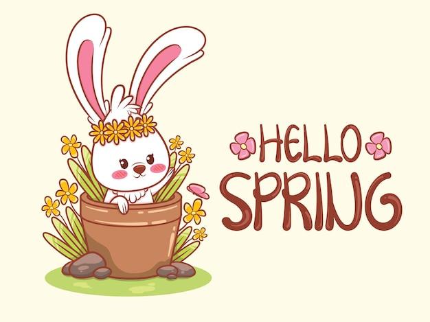 Simpatico coniglietto con un vaso di fiori per la primavera. illustrazione del personaggio dei cartoni animati ciao concetto di primavera.