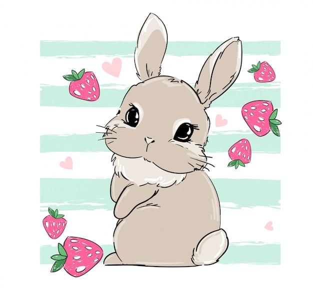 Simpatico coniglietto con fragole. berry sweet. stampa per tessuti per bambini, cartellonistica, scuola materna. coniglio. stock di illustrazione.