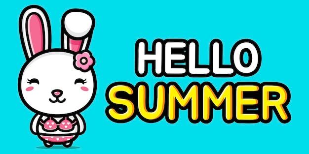 Simpatico coniglietto con banner di auguri estivi Vettore Premium