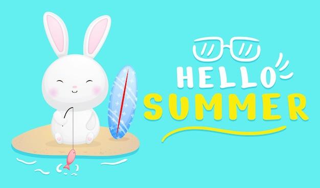 Simpatico coniglietto con banner di auguri estivi