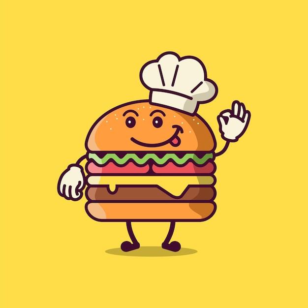 Simpatico personaggio dei cartoni animati di hamburger che indossa il cappello da chef vettore
