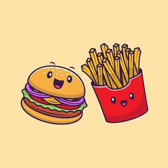 Illustrazione sveglia dell'icona del fumetto delle patate fritte e dell'hamburger. premio isolato concetto dell'icona del carattere degli alimenti a rapida preparazione. stile cartone animato piatto