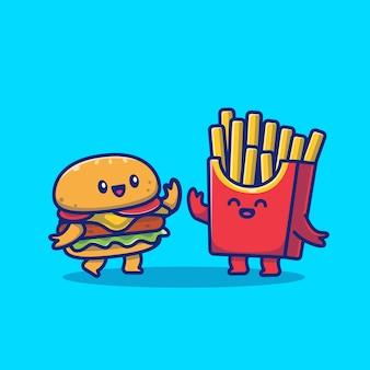 Illustrazione sveglia dell'icona dell'hamburger e delle patate fritte. premio isolato concetto dell'icona degli alimenti a rapida preparazione. stile cartone animato piatto