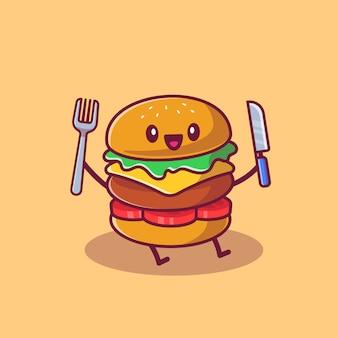 Hamburger carino tenendo coltello e forchetta icona del fumetto llustration. concetto dell'icona del fumetto di fast food isolato. stile cartone animato piatto
