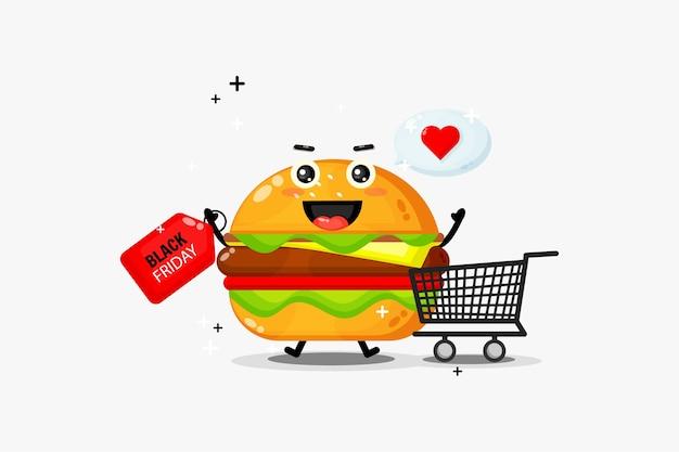 Simpatica mascotte di hamburger con sconto venerdì nero