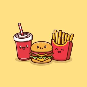 Hamburger carino con soda e patatine fritte icona illustrazione. concetto dell'icona della bevanda e dell'alimento isolato. stile cartone animato piatto