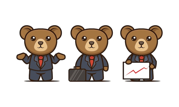 Insieme sveglio del modello di vettore dell'illustrazione di progettazione della mascotte dell'orso di affari