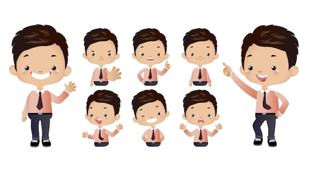 Set di simpatici uomini d'affari