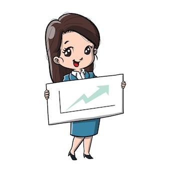 Carino, donna affari, cartone animato