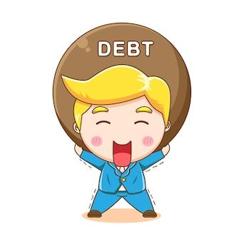 Simpatico uomo d'affari che trasporta un fardello del fumetto del debito