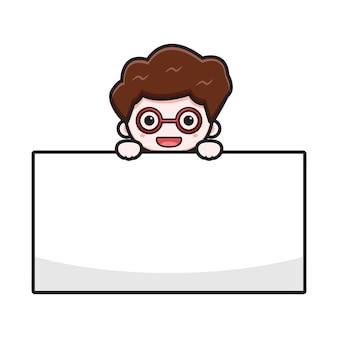 Uomo d'affari sveglio con l'illustrazione dell'icona di vettore del fumetto del bordo in bianco. disegno isolato su bianco. stile cartone animato piatto.