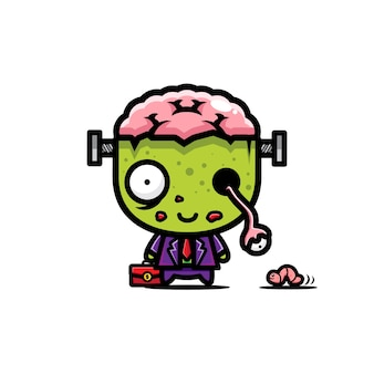 Disegno vettoriale carino uomo d'affari zombie