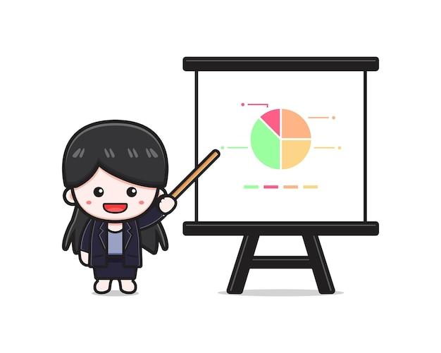 Presentazione sveglia della donna di affari con l'illustrazione dell'icona del fumetto del bastone. design piatto isolato in stile cartone animato