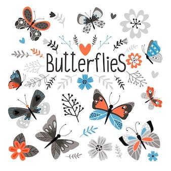 Farfalle carine e bei fiori. elementi tessili stampati, giardino primaverile bella flora stile ingenuo e insetti segni vettoriali isolati su sfondo bianco
