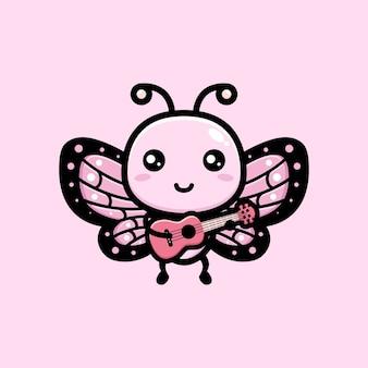 Simpatica farfalla che suona l'ukulele