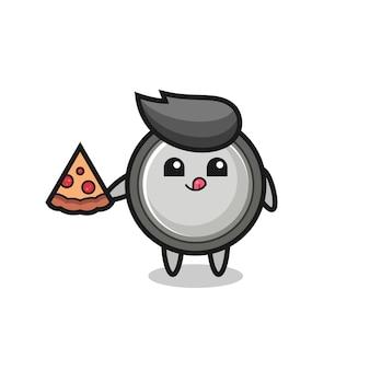 Simpatico cartone animato a bottone che mangia pizza, design in stile carino per t-shirt, adesivo, elemento logo