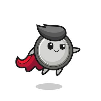 Il simpatico personaggio del supereroe a celle a bottone sta volando, design in stile carino per maglietta, adesivo, elemento logo