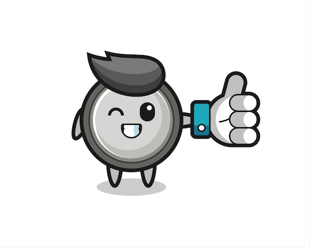 Simpatica cella a bottone con simbolo del pollice in alto dei social media, design in stile carino per t-shirt, adesivo, elemento logo