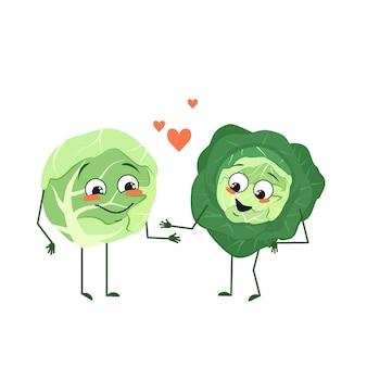 Simpatici personaggi di cavolo con emozioni d'amore, viso, braccia e gambe. gli eroi del cibo divertenti o felici, le verdure si innamorano. illustrazione piatta vettoriale