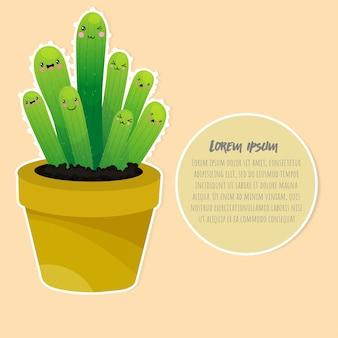 Illustrazione felice di vettore di progettazione del fumetto sveglio del cactus.