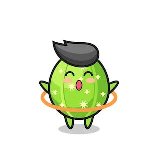 Simpatico cartone animato di cactus sta giocando a hula hoop, design in stile carino per maglietta, adesivo, elemento logo
