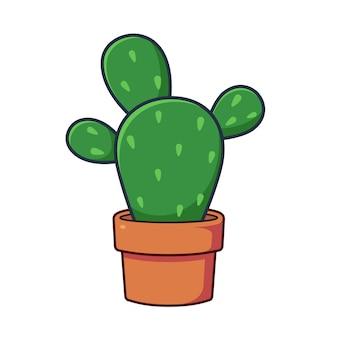 Un simpatico cactus in una pentola di terracotta in stile illustrazione vettoriale piatta una pianta succulenta