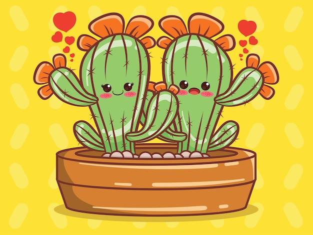 Simpatico personaggio dei cartoni animati di coppia di cactus e illustrazione.