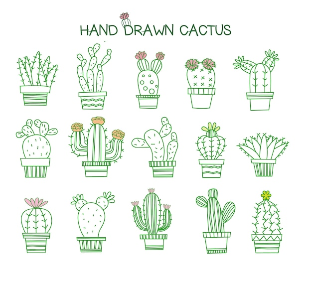 Set di icone di cactus carino