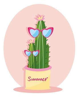 Illustrazione di cactus carino con tipografia estiva