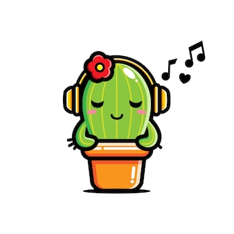 Carino cactus sta ascoltando musica