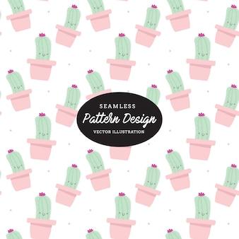 Modello di cactus carino. foglie e fiori disegnati a mano, design per inviti, nozze o biglietti di auguri