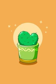 Illustrazione di cartone animato carino pianta di cactus