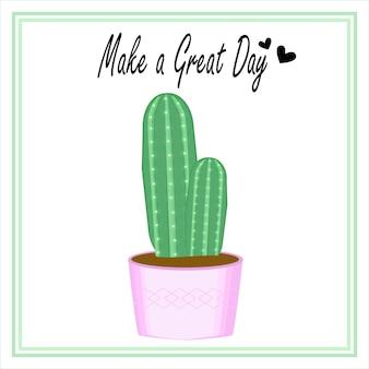 Simpatico modello di vaso di cactus vettoriale con citazioni di ispirazione per post sui social media