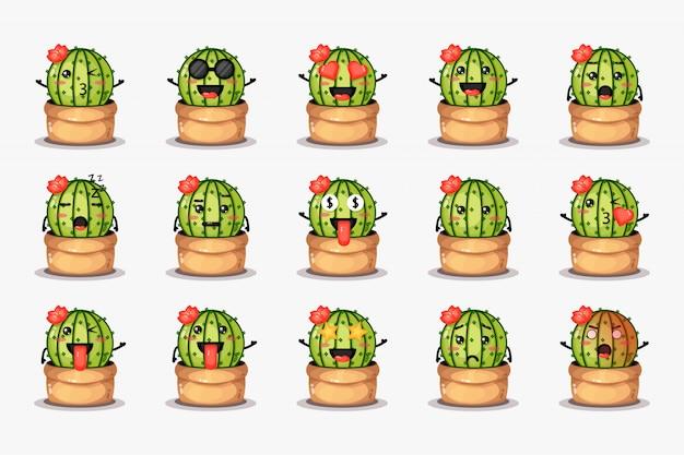Cactus carino in una pentola con varie espressioni impostate