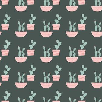 Illustrazione del modello senza cuciture di cactus carino