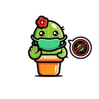 Simpatico cactus che indossa una maschera con posa per fermare il virus